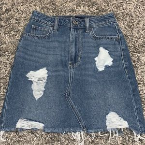 Hollister High Waisted Ripped Jean Skirt